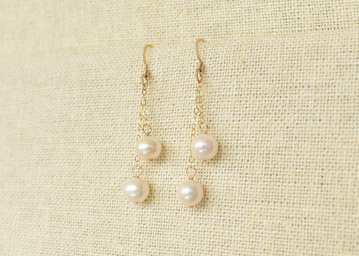 Dangling Chain Pearl Earrings - Yay Hawaii