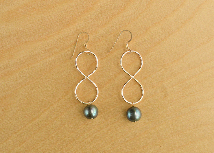 Black Pearl Infinity Earrings - Large - Yay Hawaii