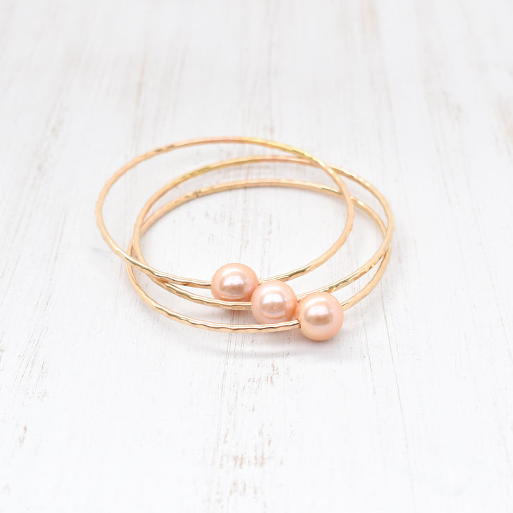 Adult Peachy Pink Edison Pearl Bangle - Yay Hawaii