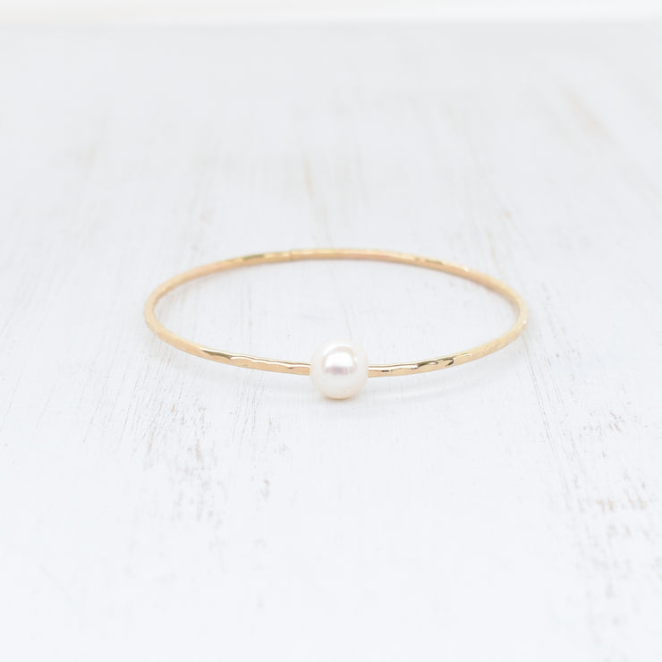 FLASH SALE - Adult White Freshwater Pearl Bangle - Yay Hawaii