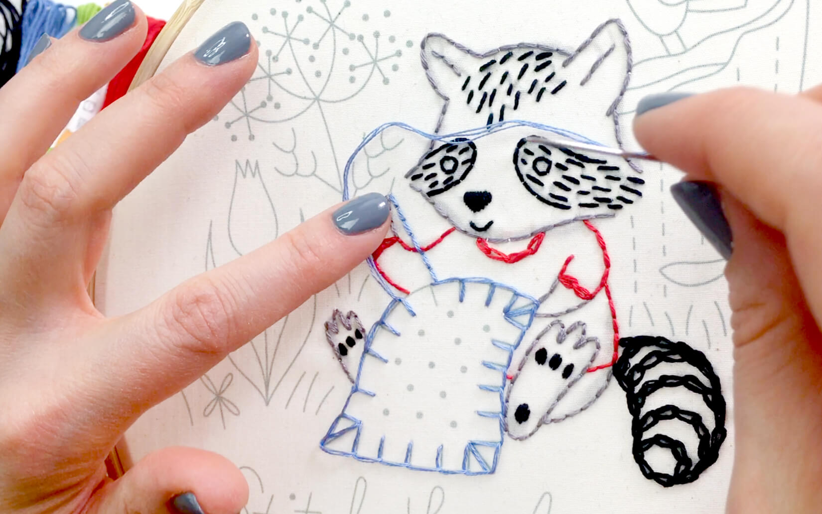 Blanket stitch in the Stitching Raccoon Sampler