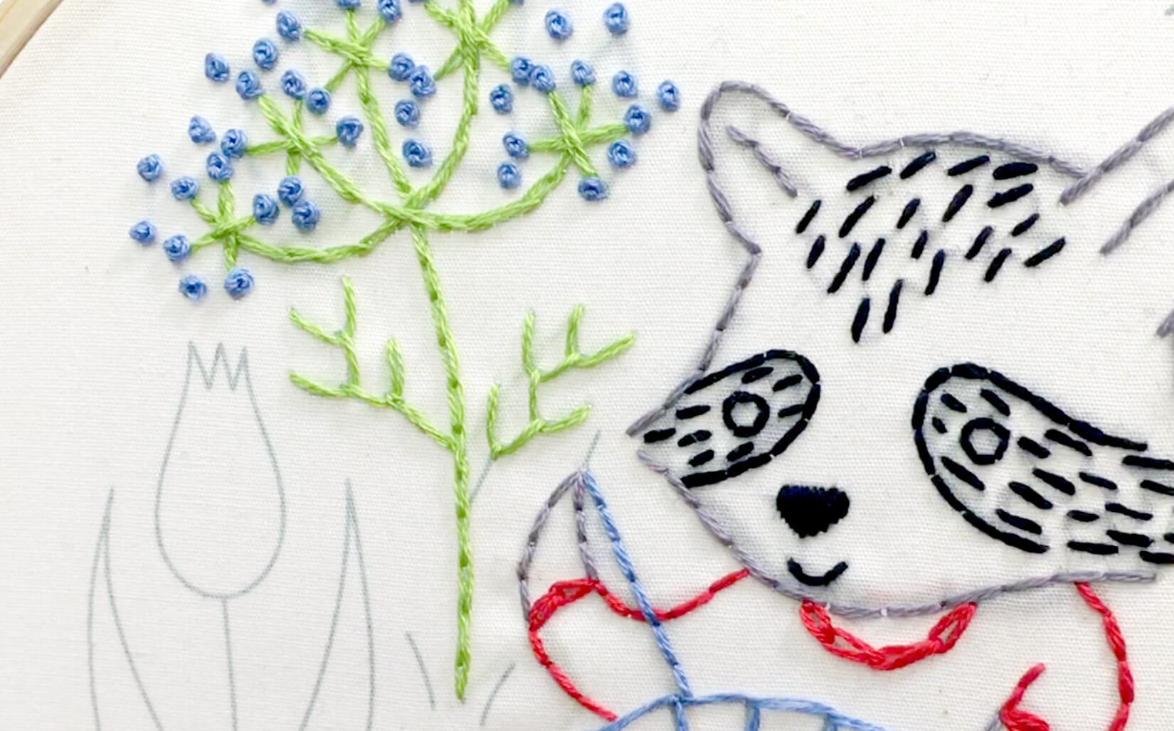 French knot stitch in the Stitching Raccoon Sampler