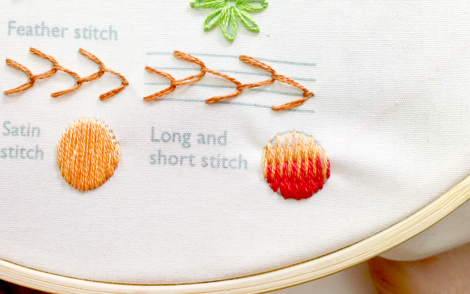 Image of stitching the long and short stitch