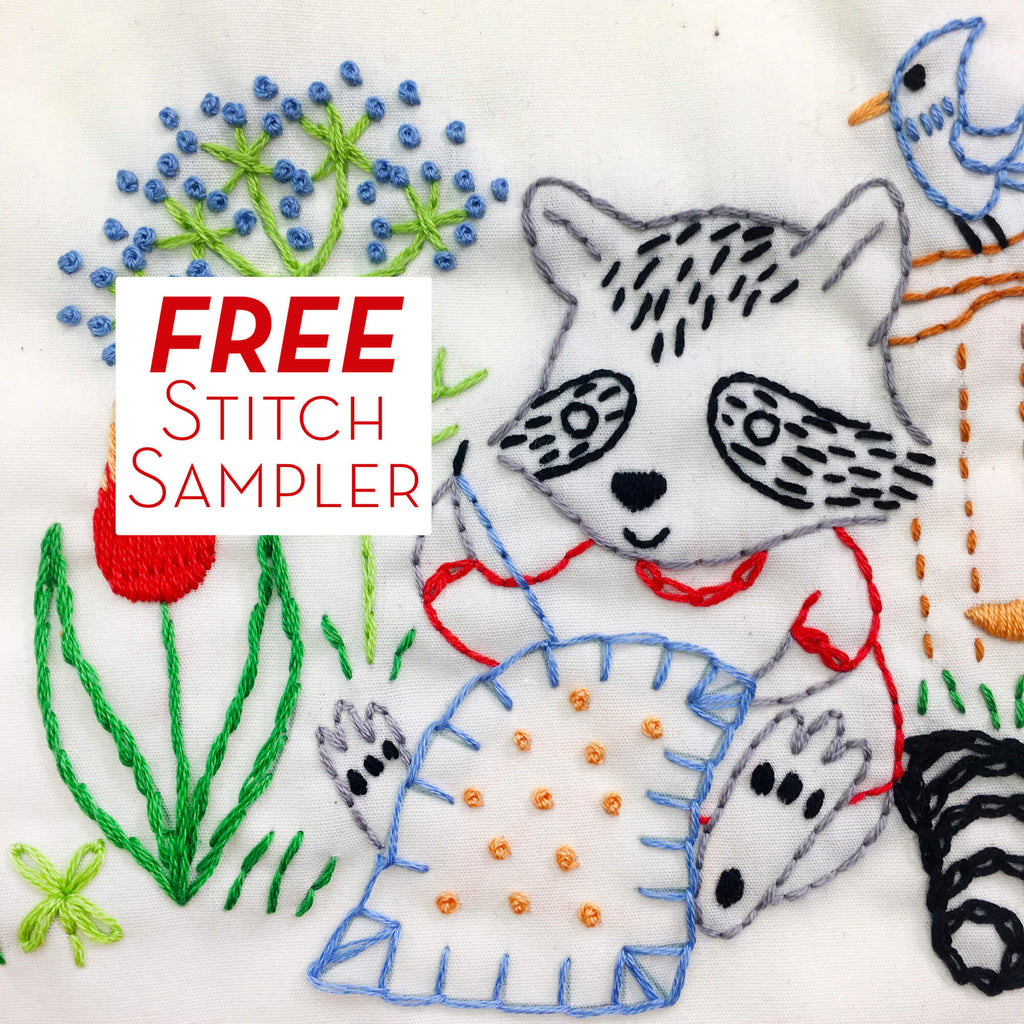 Stitching Raccoon embroidery sampler