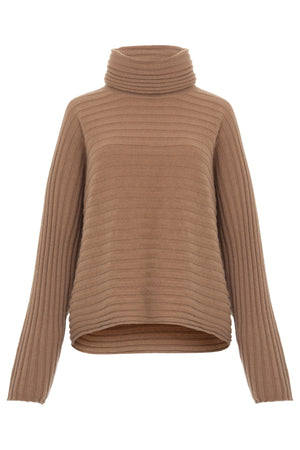 WIDE RIBBED RELAXED TURTLENECK