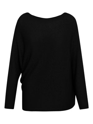 L/S ASYMMETRICAL DRAPE SWEATER