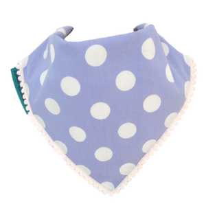 Polka Dot Bib - Blue and White with White Border