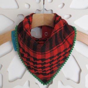 Keffiyah Dribble Bibs – Red and Black with Green border