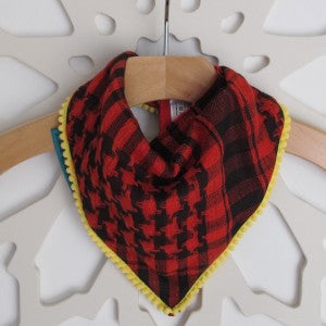 Keffiyah Dribble Bibs – Red and Black with Yellow border