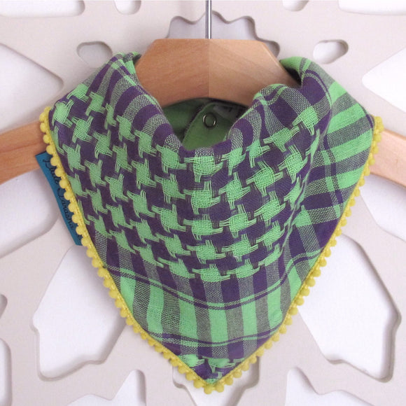 Keffiyah Dribble Bibs - Purple & Green and Yellow Border