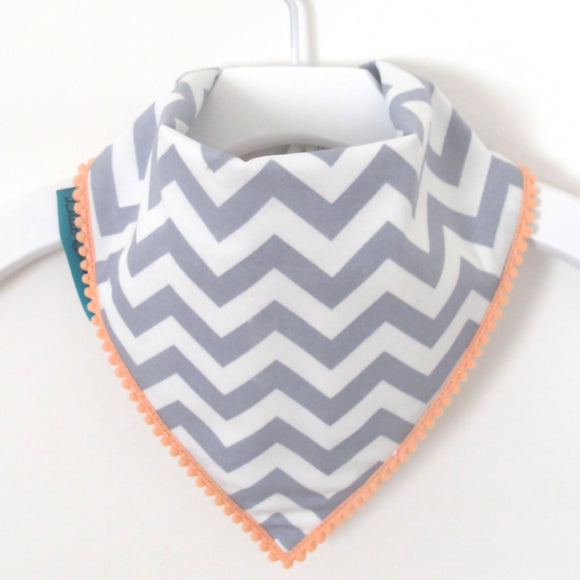 Chevron Bib - Grey and White with Peach Border