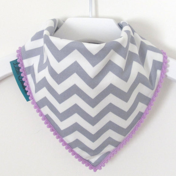 Chevron Bib - Grey and White with Purple Border