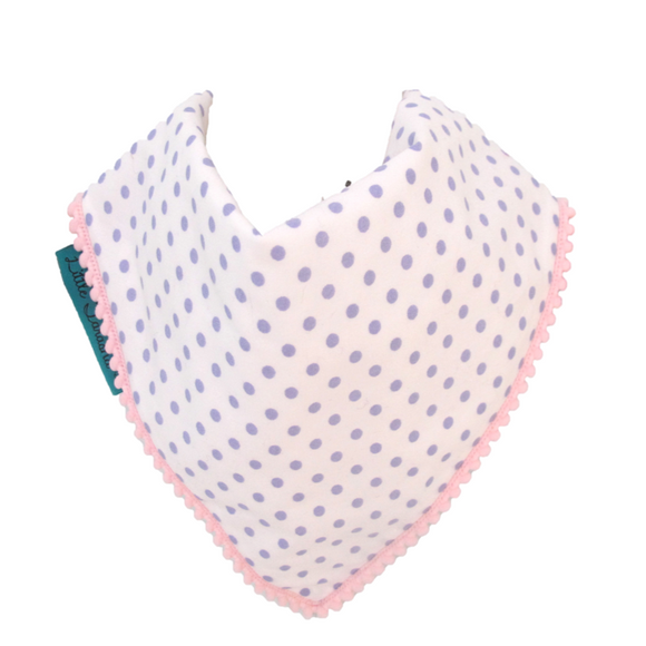 Polka Dot Bib - White and Purple with Baby Pink Border