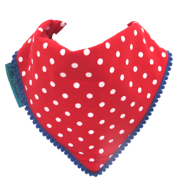 Polka Dot Bib - Red and White with Navy Blue Border
