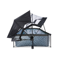 Load image into Gallery viewer, EXIT Stone pool 220x150x65cm, 300x200x65cm with dome, canopy and filter pump - grey