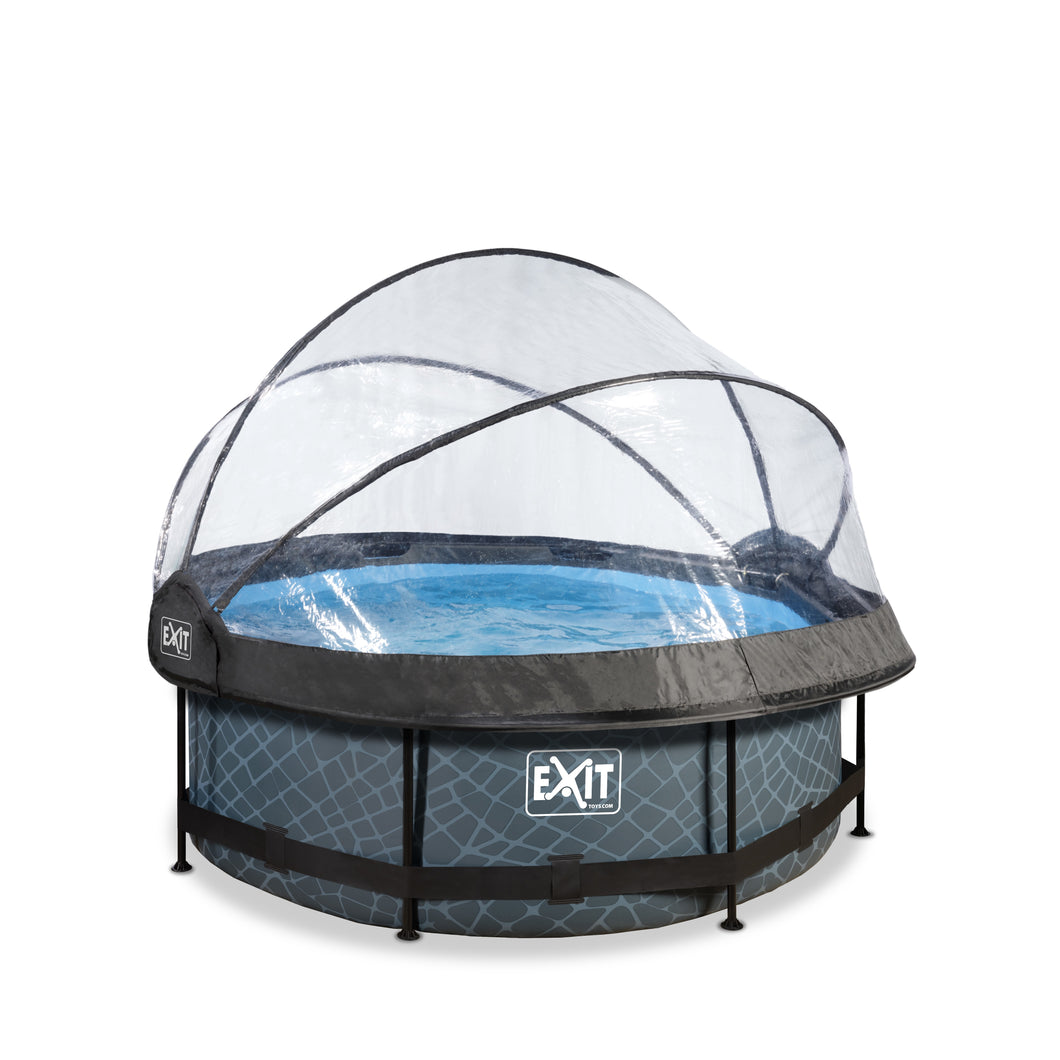 EXIT Stone pool ø244x76cm, ø300x76cm, ø360x76cm with dome and filter pump - grey