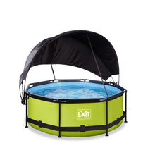 Load image into Gallery viewer, EXIT Lime pool ø244x76cm, ø300x76cm, ø360x76cm with canopy and filter pump - green