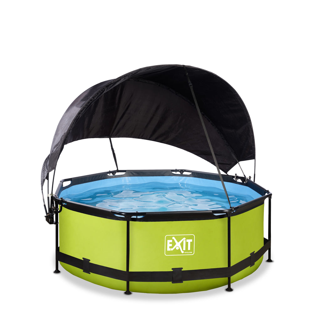 EXIT Lime pool ø244x76cm, ø300x76cm, ø360x76cm with canopy and filter pump - green
