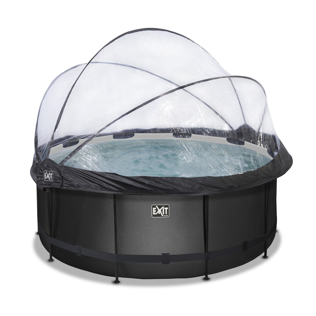 EXIT Black Leather pool with dome and sand filter pump - black