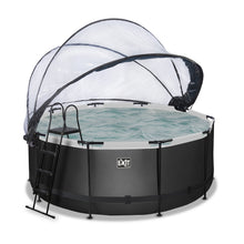 Load image into Gallery viewer, EXIT Black Leather pool with dome and sand filter pump - black