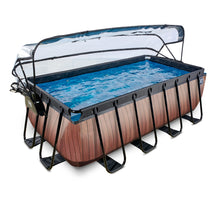 Load image into Gallery viewer, EXIT Wood pool 400x200x122cm, 540x250x122 cm with dome and sand filter and heat pump - brown
