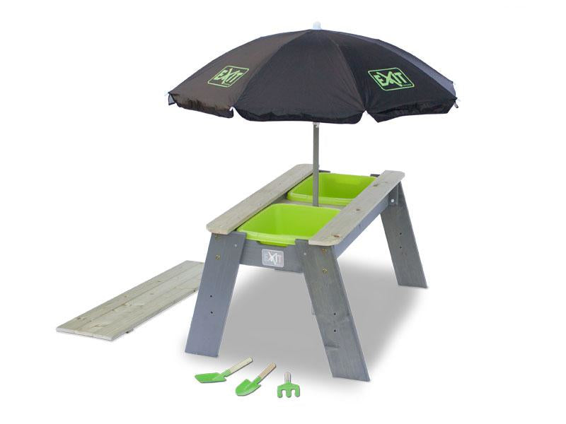 EXIT Aksent sand & water table with parasol and gardening tools