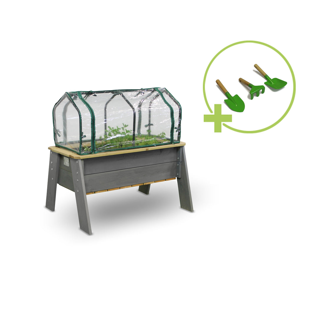 EXIT Aksent planter table L, XL with greenhouse and gardening tools