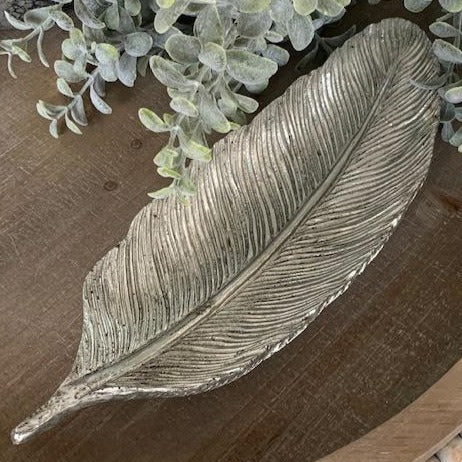 Small Resin Leaf Tray - Antique Silver