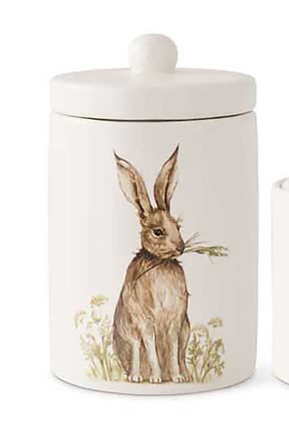 WHITE CERAMIC LIDDED CONTAINER W/ BUNNY