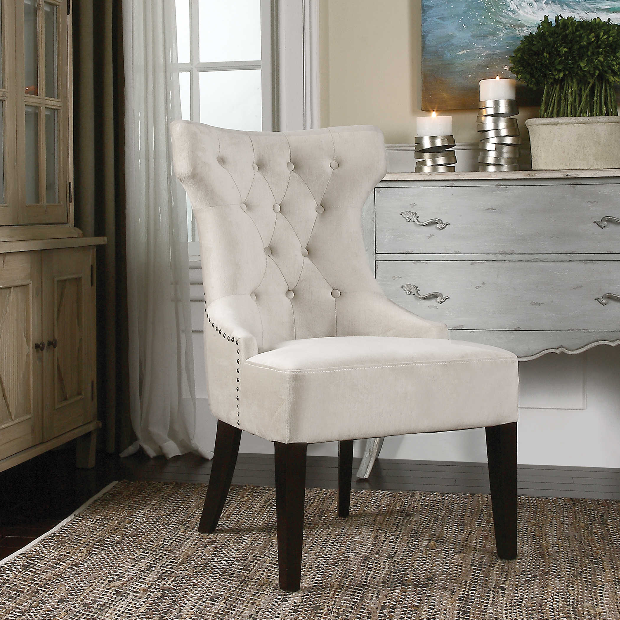 IVORY WING CHAIR
