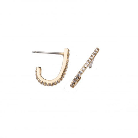 CURVED PAVE STUD EARRINGS