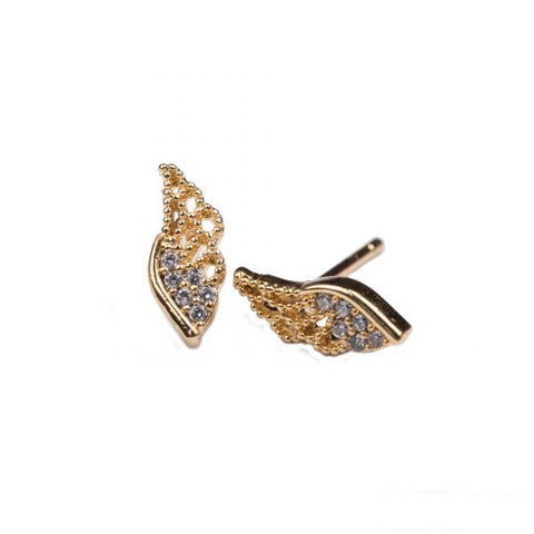 WING EARRINGS - GOLD/CRYSTALS