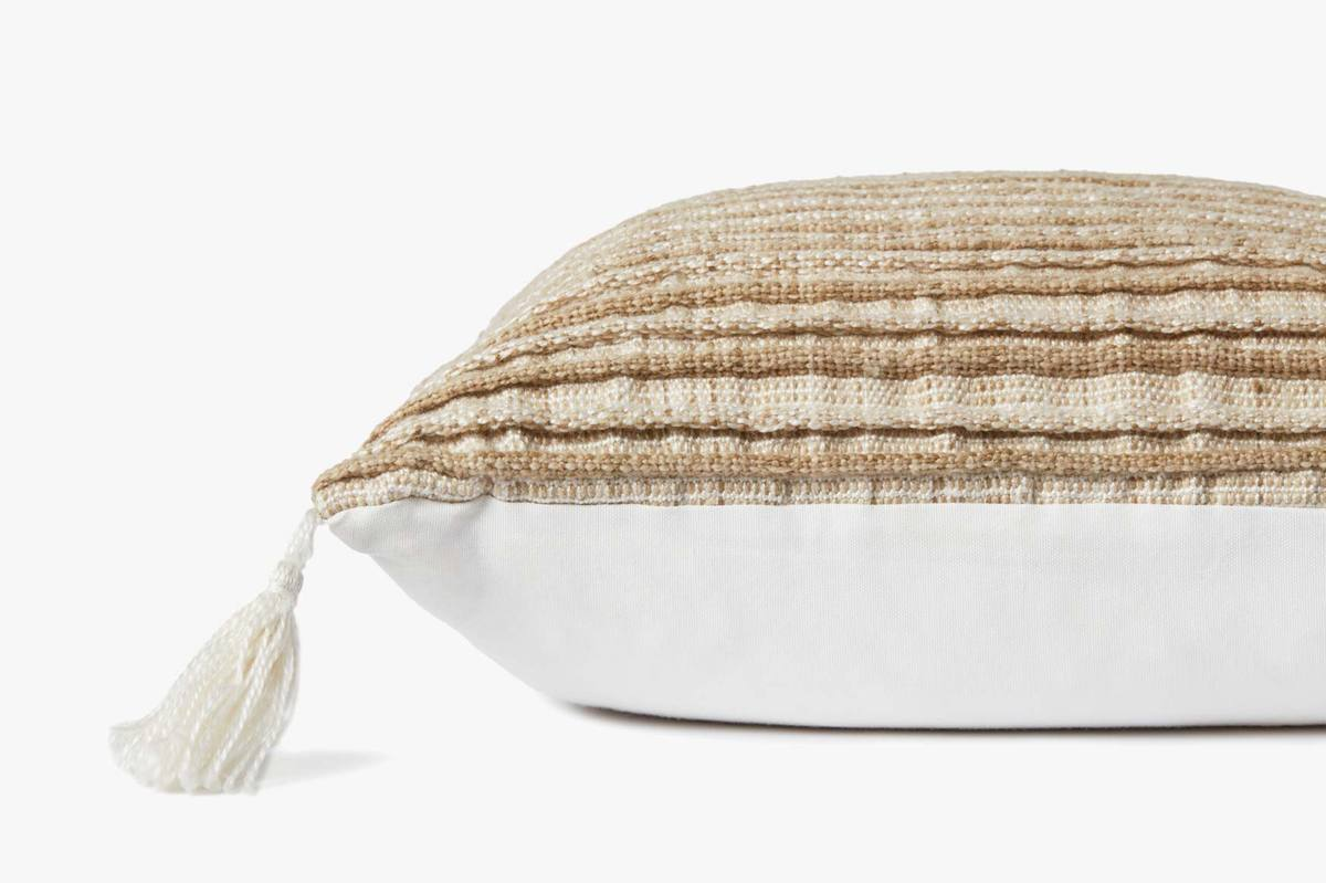 MH TAUPE STRIPED PILLOW