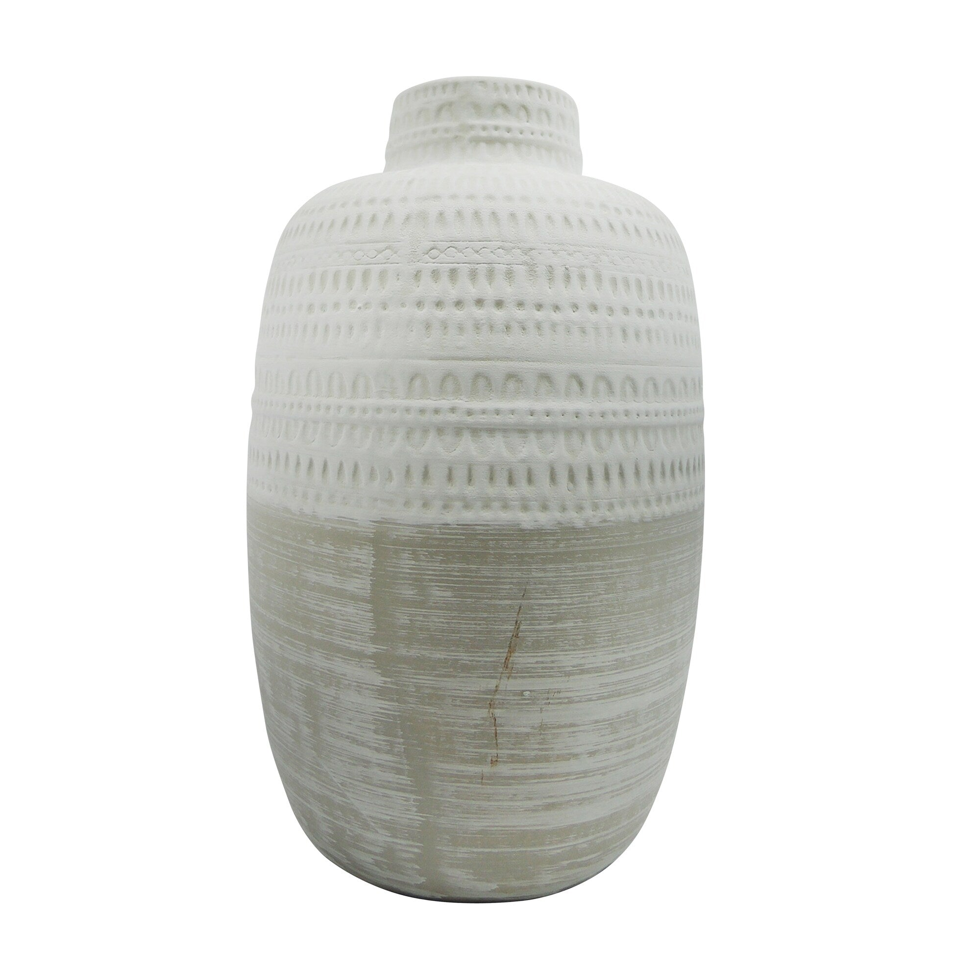 BEIGE CERAMIC TRIBAL VASE