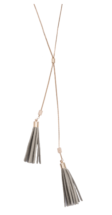 Camille Necklace- Gold w/ Gray Tassels