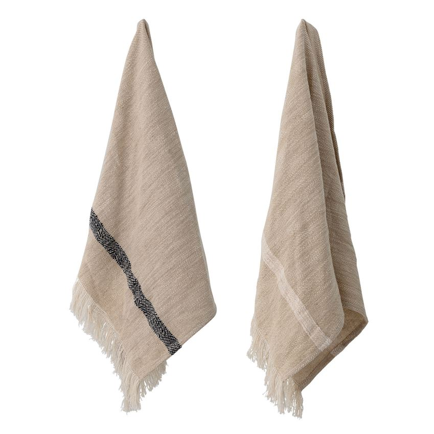 NATURAL WOVEN STRIPED FRINGE TOWELS