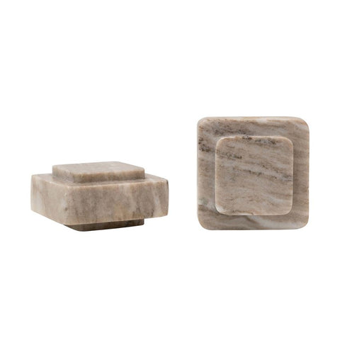 S/2 BEIGE MARBLE BOOKENDS