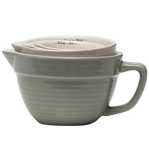 Stoneware Batter Bowl Shaped Measuring Cups (Grey)- S/4