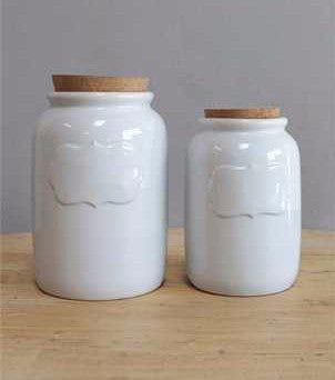 WHITE CERAMIC CANISTER W/LID