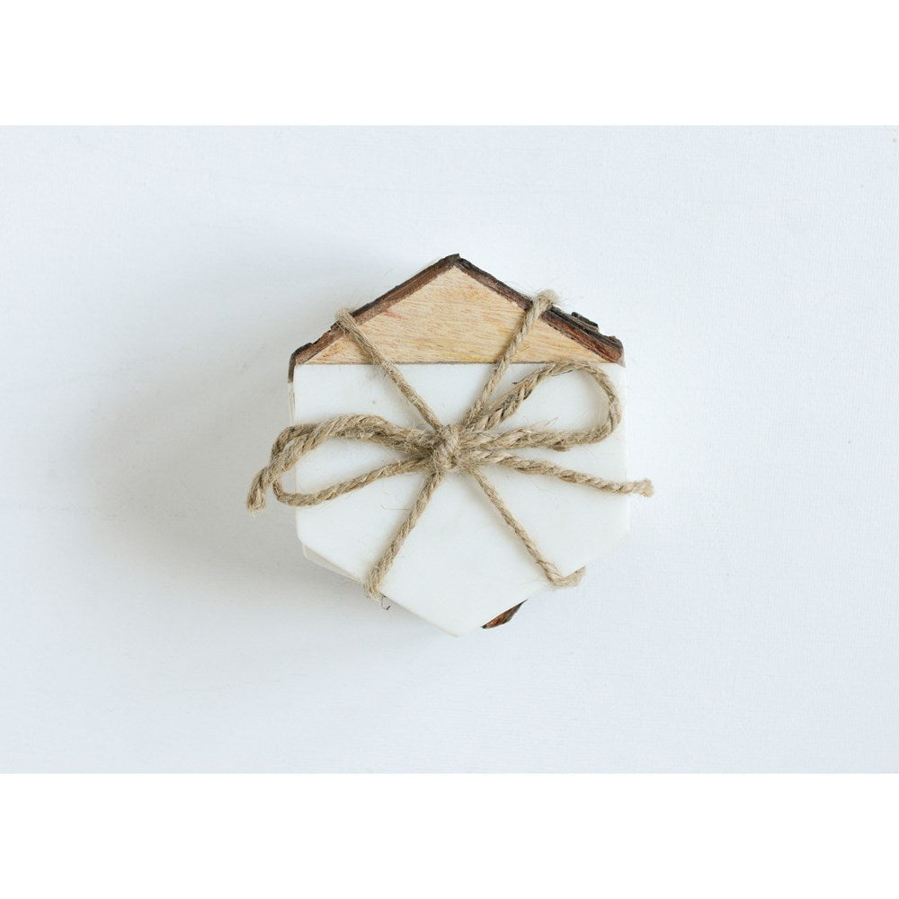HEXAGON MARBLE W/ MANGO WOOD COASTERS - SET/4