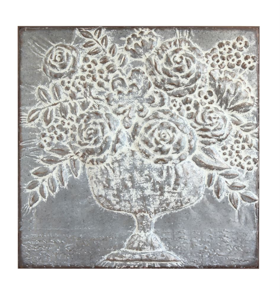 DISTRESSED WHITE METAL DECOR W/EMBOSSED FLOWERS