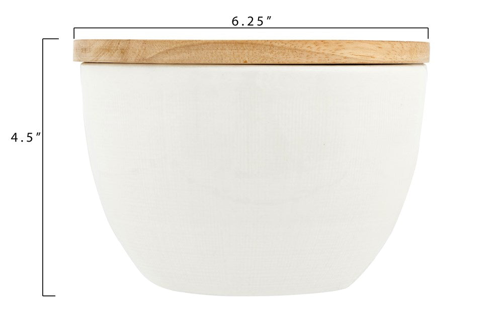 WHITE CERAMIC CANISTER W/ WOOD LID