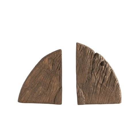 FOUND WOOD BOOKENDS