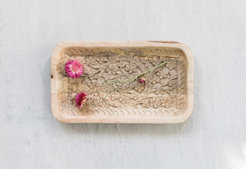 RECTANGLE HAND-CARVED MANGO WOOD TRAY