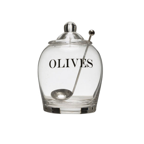 ROUND GLASS OLIVE JAR