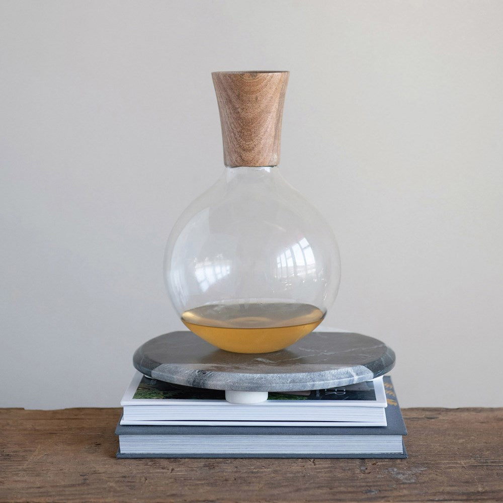 MANGO GLASS WOOD DECANTER