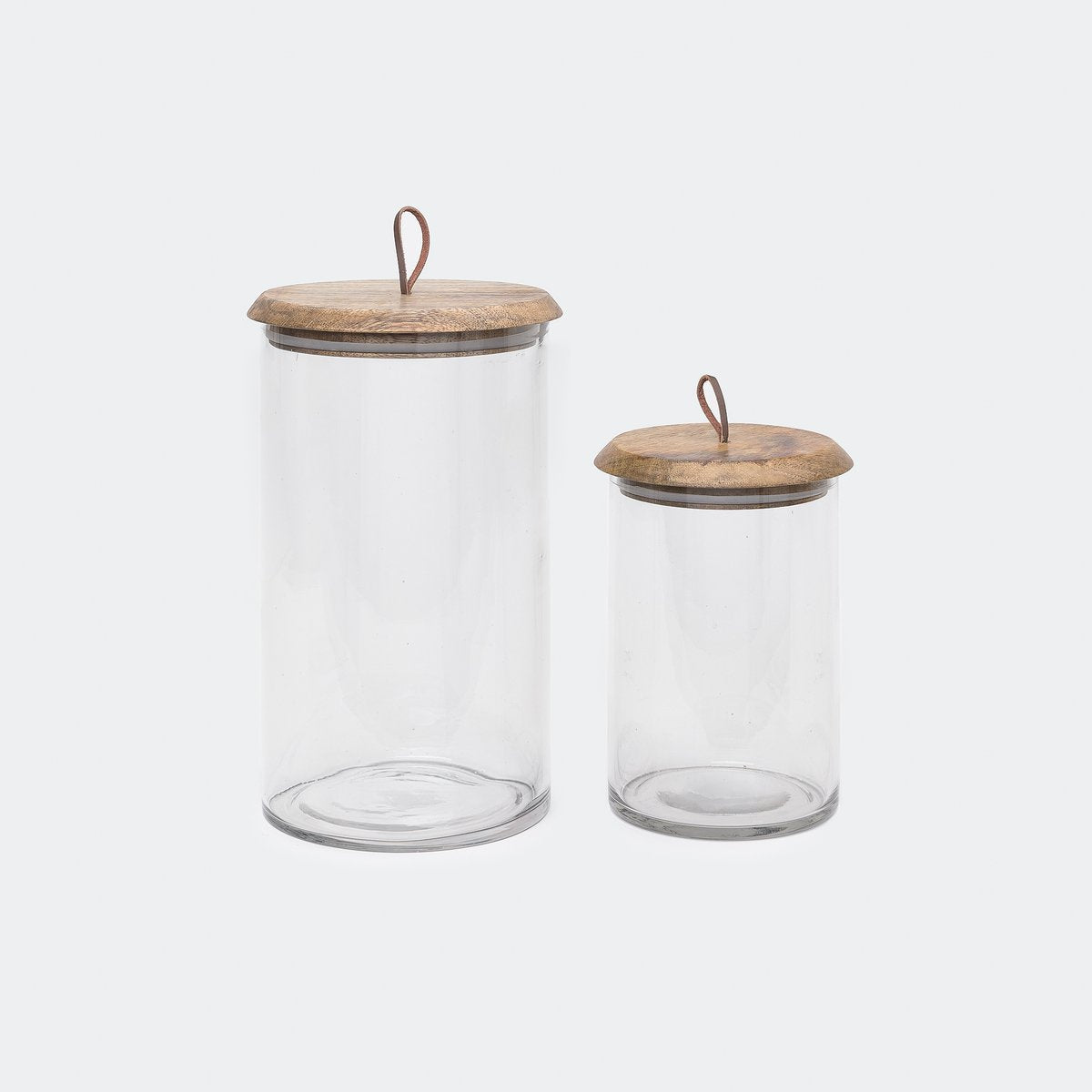 MANGO WOOD AND GLASS COVERED JARS