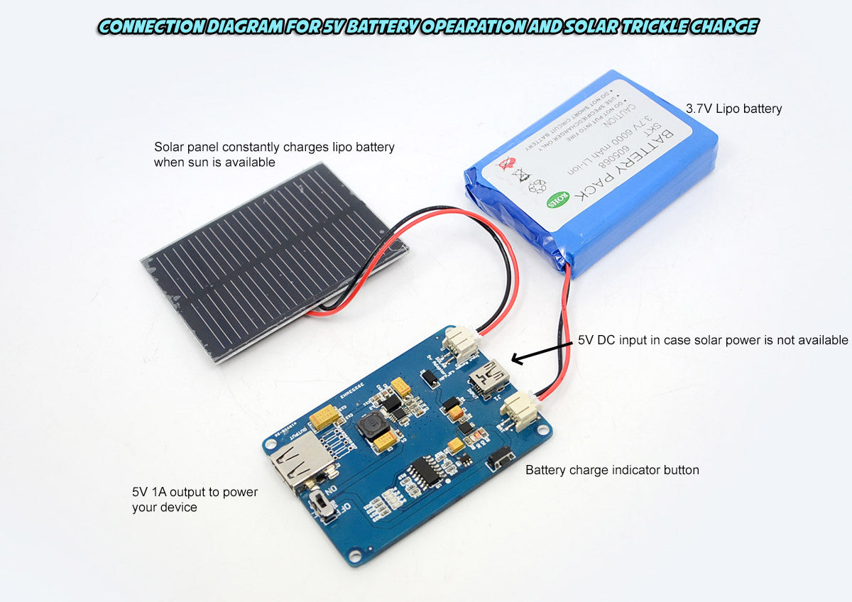 TinyOne Lipo Charger Pro Kit - Lipo Solar/Charger 5VDC portable power supply