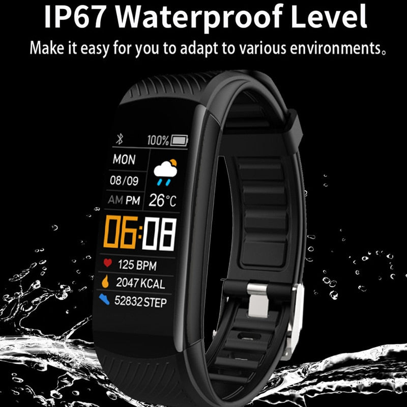 Sports smartwatch with heart rate and blood pressure monitoring