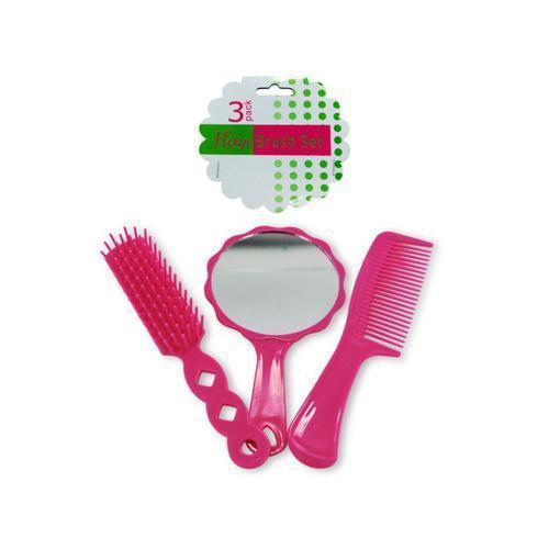 Hairbrush & Comb Set with Mirror ( Case of 48 )